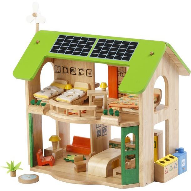 Dřevěný EKO domeček pro panenky s nábytkem