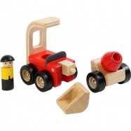 Dřevěný buldozer s míchačkou