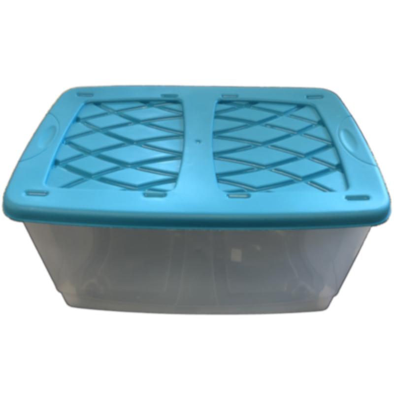 32990049ded84 Detský kontajner na hračky s vekom a kolieskami - modrý
