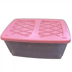 Dětský kontejner na hračky s víkem a kolečky - růžový