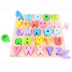 Drevená motorická vzdelávacie hračka Abeceda