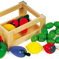 RaKonrad skrzynka i drewniane owoce i warzywa