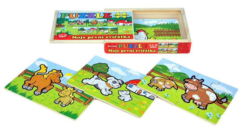 Puzzle Moje první zvířátka dřevěné 4x12 dílků