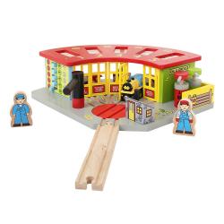 Bigjigs Toys Drewniana Zajezdnia Kolejowa dla 5 lokomotyw
