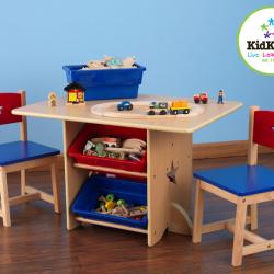 KidKraft detský stôl Star s dvoma stoličkami a boxy