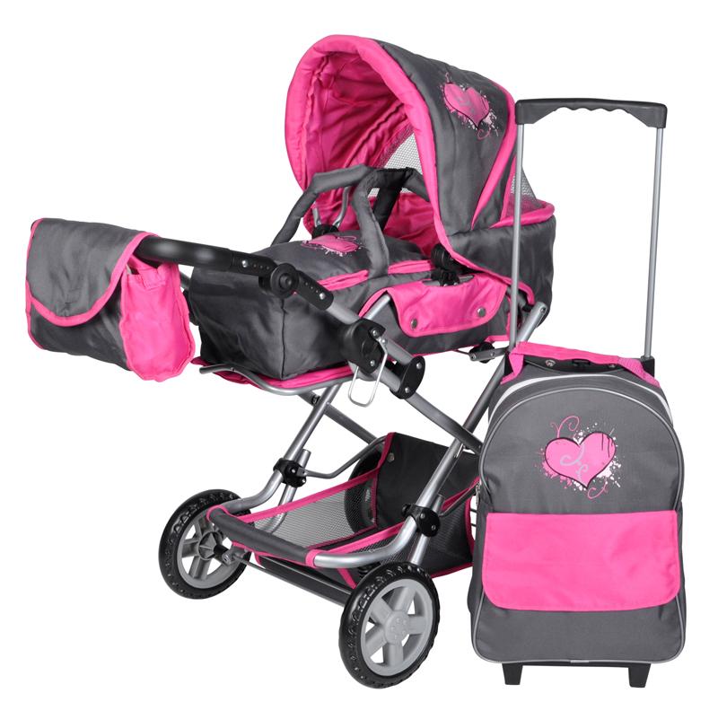 Kočárek pro panenky LUKE SET 61417  graffiti pink