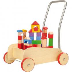 Chodítko drevené kocky vo vozíku