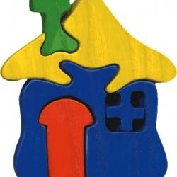 Dřevěné vkládací puzzle z masivu Malý domeček