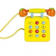 Dřevěný žlutý telefon