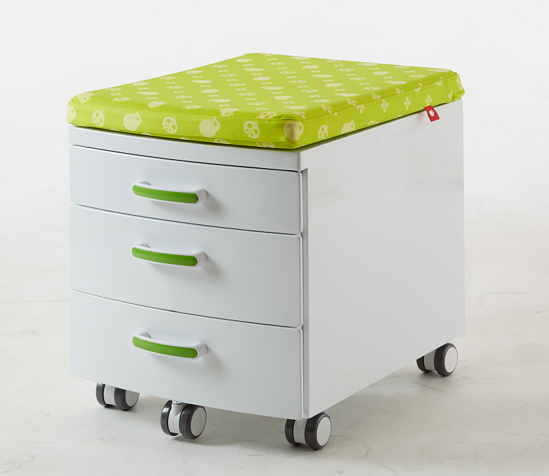 Pojazdný ukladací kontajner s čalúnením na sedenie Bielo zelený