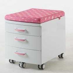 Przenośny, nowoczesny kontejner, box z pokryciem - biało-różowy