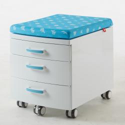 Przenośny, nowoczesny kontejner, box z pokryciem - biało-niebieski