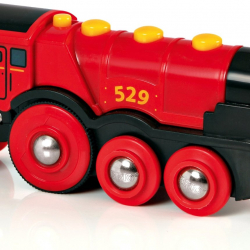 Mohutná elektrická červená lokomotíva so svetlami