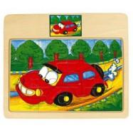 Dřevěné hračky - Puzzle na desce - auto - Tori