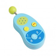 Dřevěný modrý mobilní telefon