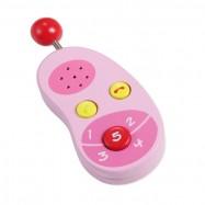 Dřevěný růžový mobilní telefon