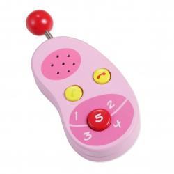Drevený ružový mobilný telefón