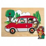 Vkládací puzzle - Rodinné auto červené