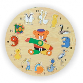 Vkládací výukové puzzle - Hodiny zvířata