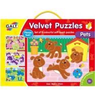 Sametové puzzle 4 v 1 - domácí mazlíčci