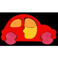Dřevěné minipuzzle - Auto červené