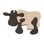 Dřevěné minipuzzle - Kráva černá