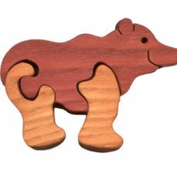 Dřevěné minipuzzle - Medvěd, les 3 díly