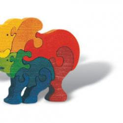 Puzzle dřevěné - Slon rodinka, masiv