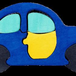 Dřevěné minipuzzle - Auto modré