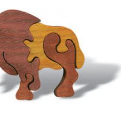Dřevěné minipuzzle - Buvol