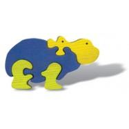Dřevěné minipuzzle - Hroch
