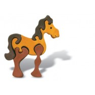 Dřevěné minipuzzle - Kůň hnědý