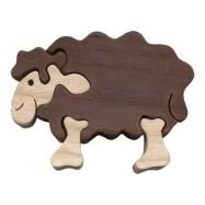 Dřevěné minipuzzle - Ovce černá