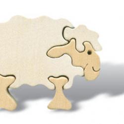 Dřevěné minipuzzle - Ovce bílá