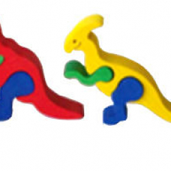 Dřevěné mini puzzle sada- DINO