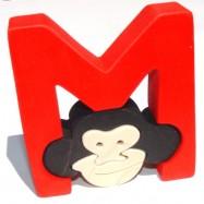 Puzzle písmena - M - Opice