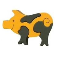 Dřevěné minipuzzle - Prasátko
