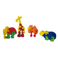 Dřevěné mini puzzle sada - ZOO