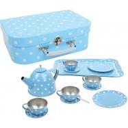 Modrý puntikovaný čajový set