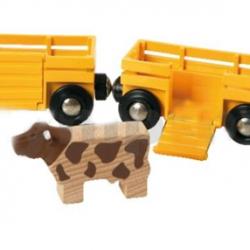 Poľnohospodársky vlak pre prepravu zvierat s 2 vagóniky, kravou, koňom