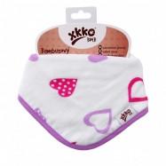 XKKO BMB Bambusový dětský slintáček/šátek - Lilac Hearts