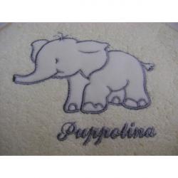 Osuška s kapucí Puppolina Slon Bílá