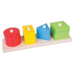 Bigjigs Toys drevená motorická triediace doska tvary farby