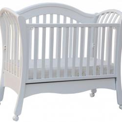 Łóżeczko dziecięce Scarlett Valencie z opuszczanym bokiem, buk - białe 120x60 cm