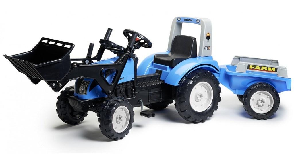 Traktor Landini s přední lžící a valníkem modrá