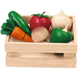 Drevená bednička so zeleninou