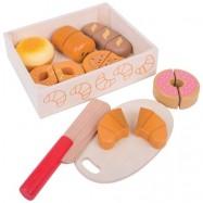 Bigjigs Toys Drevené potraviny - Krájanie pečiva v krabičke