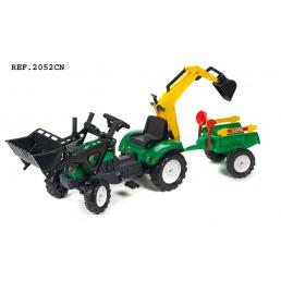 Traktor šlapací Ranch s přední i zadní lžící a valníkem zelený