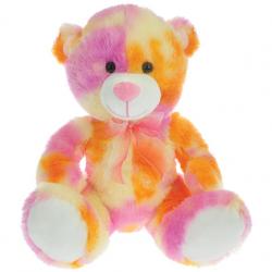 Medveď plyšový 50cm sediaci 0m + oranžovo-ružový v sáčku