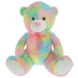 Medveď plyšový 50cm sediaci 0m + ružovo-žltý v sáčku